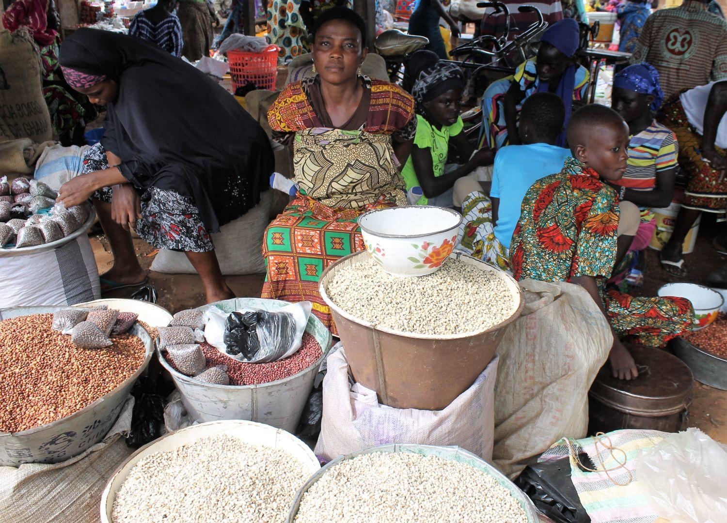 Cowpea retailers at the Katinga market in Ghana.