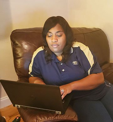 Millicent Price, Fort Valley State University Extension agent for Crawford County, is providing service to her clients by teleworking during the COVID-19 pandemic.