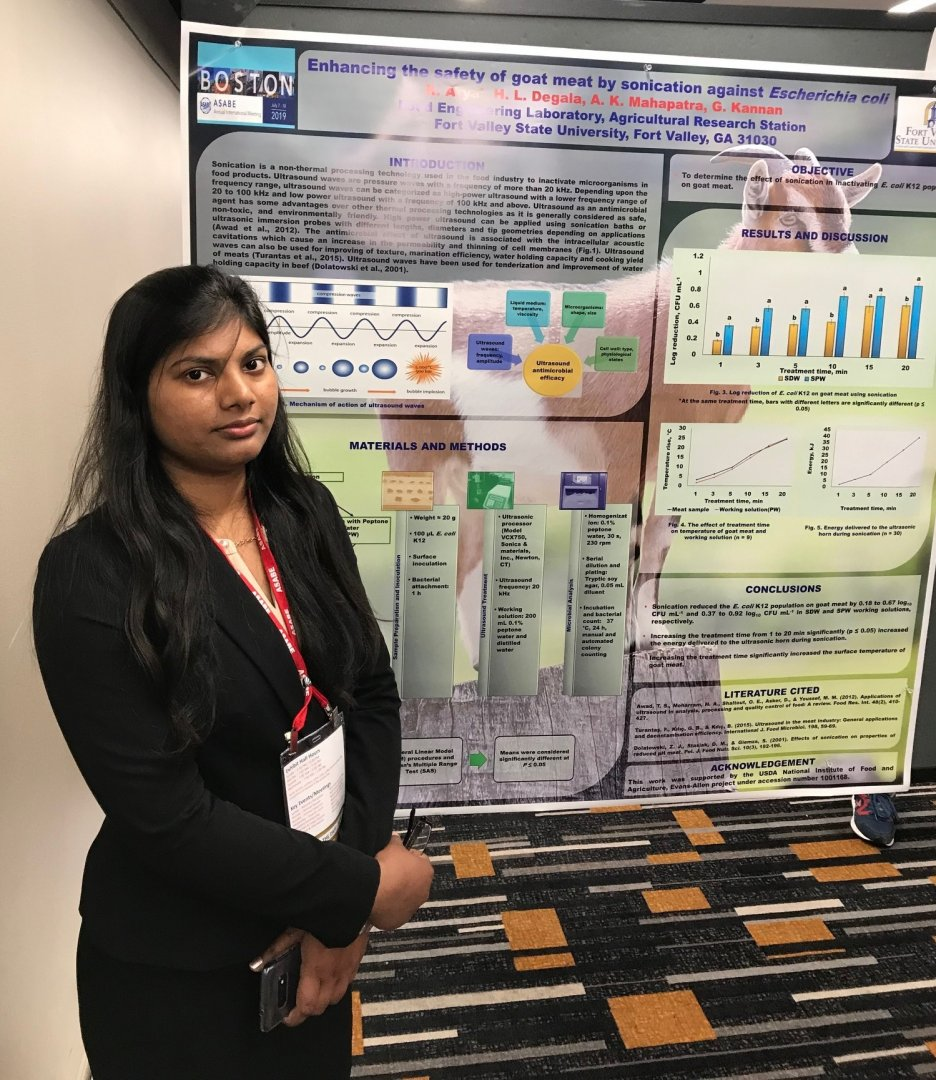 Richa Arya, a Fort Valley State University Master of Science in biotechnology alumna, presents her research on goat meat at the American Society of Agricultural and Biological Engineers (ASABE) annual meeting in Boston, Massachusetts.