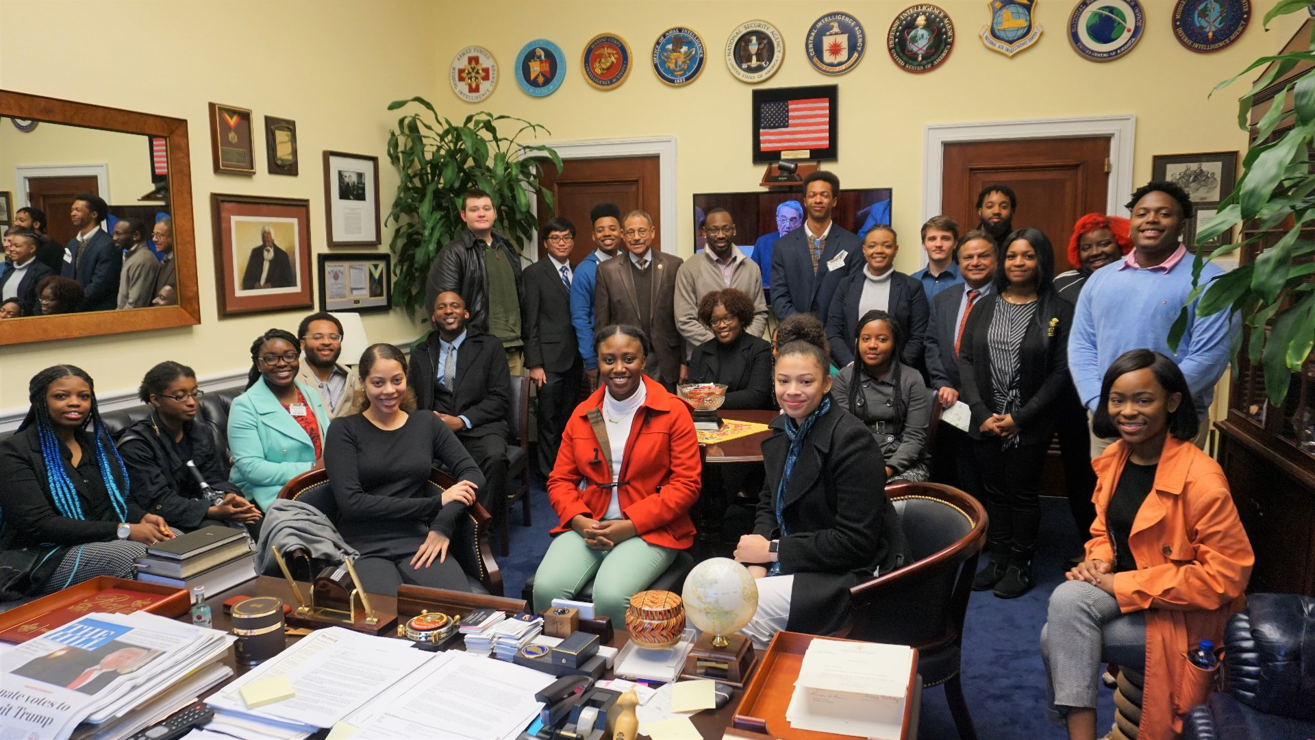 Students visit Congressman Sanford Bishop.